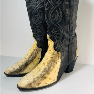 VTG Acme Snake Embroidered Western Cowboy Boots